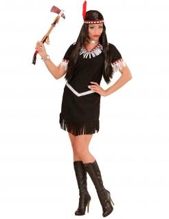 Sexy Indianerin Wildwest Damenkostüm schwarz-beige
