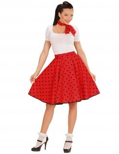 50er Jahre Damen-Rock und -Halstuch rot