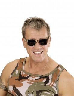 Camouflage-Brille Soldat Partybrille braun-grün