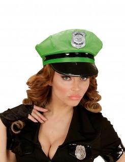 Polizei-Mütze Schildkappe schwarz-neongrün