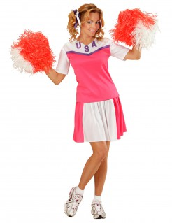 Cheerleaderin Damenkostüm USA pink-weiss