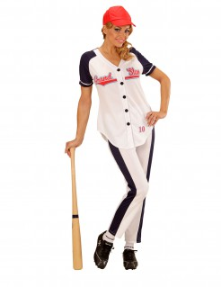 Baseballspielerin Damenkostüm Sportlerin schwarz-weiss