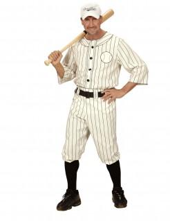 Baseball-Herrenkostüm Sportlerkostüm beige-schwarz
