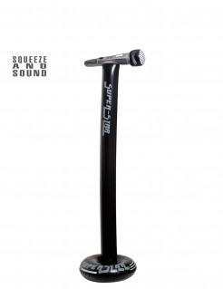 Aufblasbares Mikrofon mit Ständer schwarz-grau 116cm