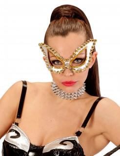 Auffällige Venezianische Damenmaske gold-weiss