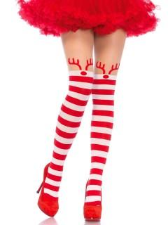 Weihnachts-Damenstrumpfhose mit Rentieren rot-weiß gestreift