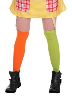 Pippi Langstrumpf Damen-Strümpfe Lizenzware orange-grün