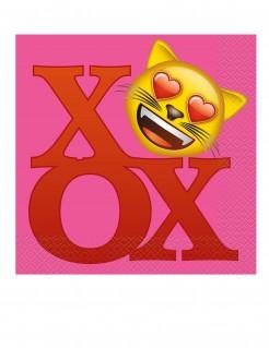 Emoji Servietten 20 Stück pink-rot-gelb 33x33 cm