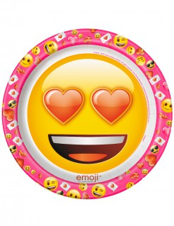Emoji Pappteller 8 Stück klein pink-rot-gelb 22cm