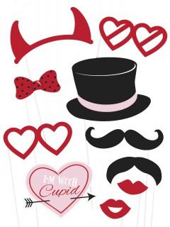Süsses Valentinstag Foto-Set 10-teilig bunt