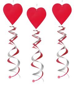 Valentinstag-Deko Spiralen mit Herz rot-pink 66cm