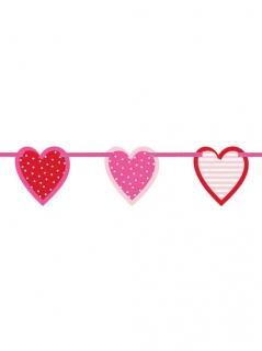Valentinstag-Deko Herz-Girlande rot-rosa 196cm