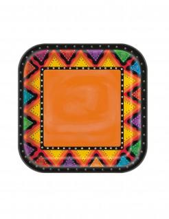 Mexiko Pappteller Party-Deko 8 Stück bunt 22cm