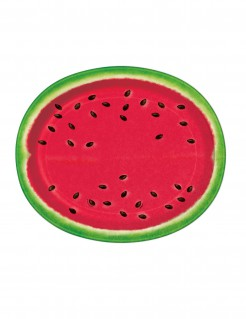 Wassermelone Pappteller Party-Deko 8 Stück rot-grün 31x25cm