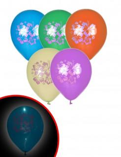 Hawaii LED-Ballons Party-Deko 5 Stück bunt 30cm