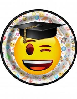 Emoji Pappteller Party-Deko 8 Stück schwarz-weiss-bunt 17cm