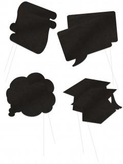 Lustiges Diplomand-Set für Fotos 8-teilig schwarz 16x13cm
