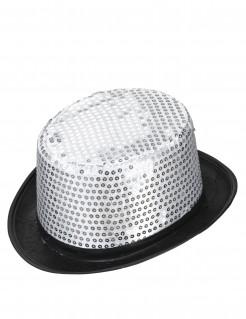 Pailletten-Zylinder Party-Hut schwarz-silber