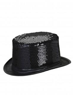 Pailletten-Zylinder Party-Hut schwarz