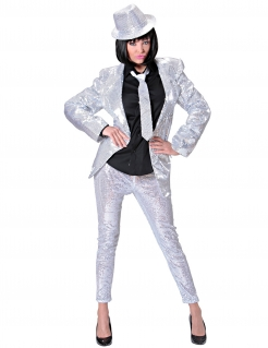Elegante Pailletten-Leggings Partyleggings silber
