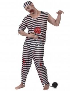 Zombie Häftling Halloweenkostüm schwarz-weiss-rot