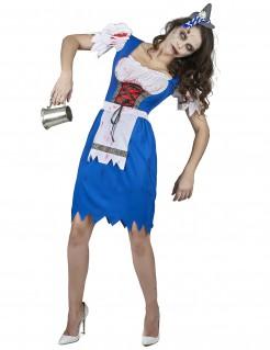 Zombie Bayerin Damen-Kostüm weiblicher Zombie-Verkleidung blau