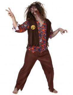 Verrücktes Zombie Hippie Herrenkostüm braun-bunt