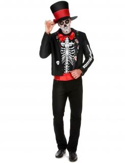 Skelett Herrenkostüm Dia de los Muertos rot-schwarz-weiss