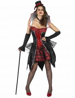Dracula-Damenkostüm Vampirin schwarz-rot