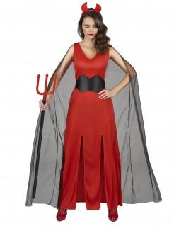 Dämonenhaftes-Damenkostüm Teufelin rot-schwarz