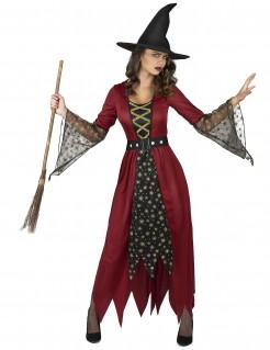 Hexen-Damenkostüm Zauberin rot-schwarz-gold