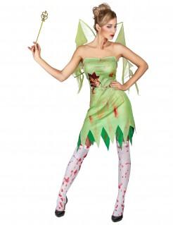 Blutverschmierte Fee-Damenkostüm Zombie grün