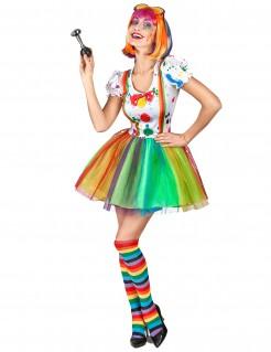 Kostüm Clown für Damen in Regenbogenfarben bunt