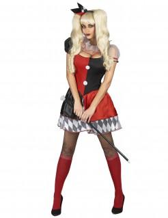Witziges Harlekin Damenkostüm rot-schwarz