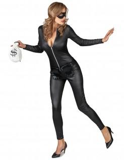 Maskierte Räuberin-Damenkostüm Diebin schwarz