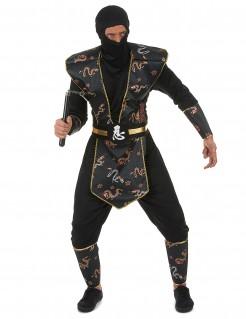 Ninja Herren-Kostüm schwarz-gold