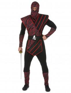 Traditionelles Ninja Herrenkostüm schwarz-rot