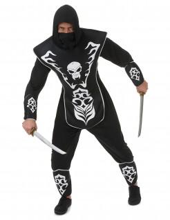 Mysteriöses Ninja Totenkopf Herrenkostüm schwarz-weiss