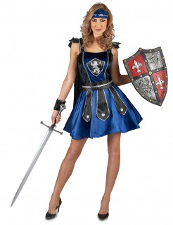 Sexy Ritterin-Kostüm für Damen dunkelblau-schwarz