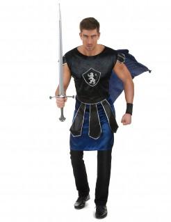 Ritterkönig-Kostüm Mittelalter schwarz-blau
