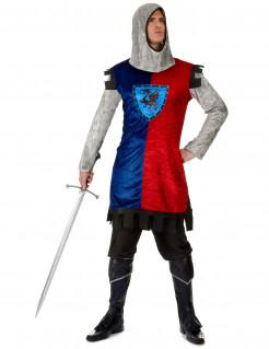 Ritter-Herrenkostüm Mittelalter rot-blau-silber