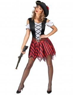 Sexy Piratenkostüm für Damen rot-schwarz-weiss
