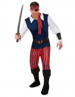 Klassisches Piraten-Herrenkostüm blau-schwarz-rot