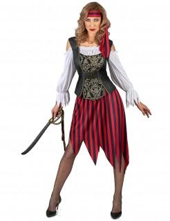 Seeräuberin-Damenkostüm Piratin rot-schwarz-weiss