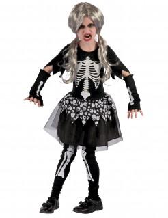 Tanzendes Skelett-Mädchenkostüm Horror schwarz-weiss