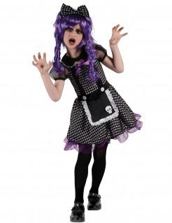 Gothik Puppe Mädchen-Kostüm schwarz-weiss-lila