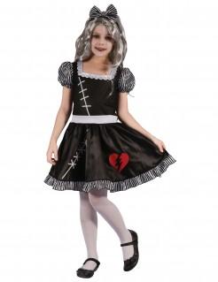 Schreckliches Puppenkostüm für Mädchen schwarz-weiss-rot