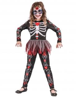 Skelett Mädchen-Kostüm schwarz-weiss-rot