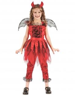 Feuerdämon-Mädchenkostüm Teufelin rot-schwarz