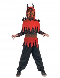 Feuerdämon-Jungenkostüm Teufelchen rot-schwarz